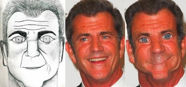 best worst examples of celebrity fan art, bad celebrity drawings, mel gibson