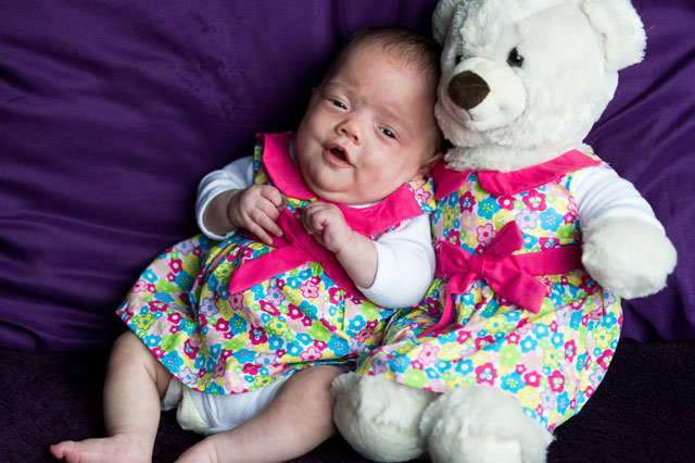 Premature baby so small mum dresses her in TEDDY BEAR clothes