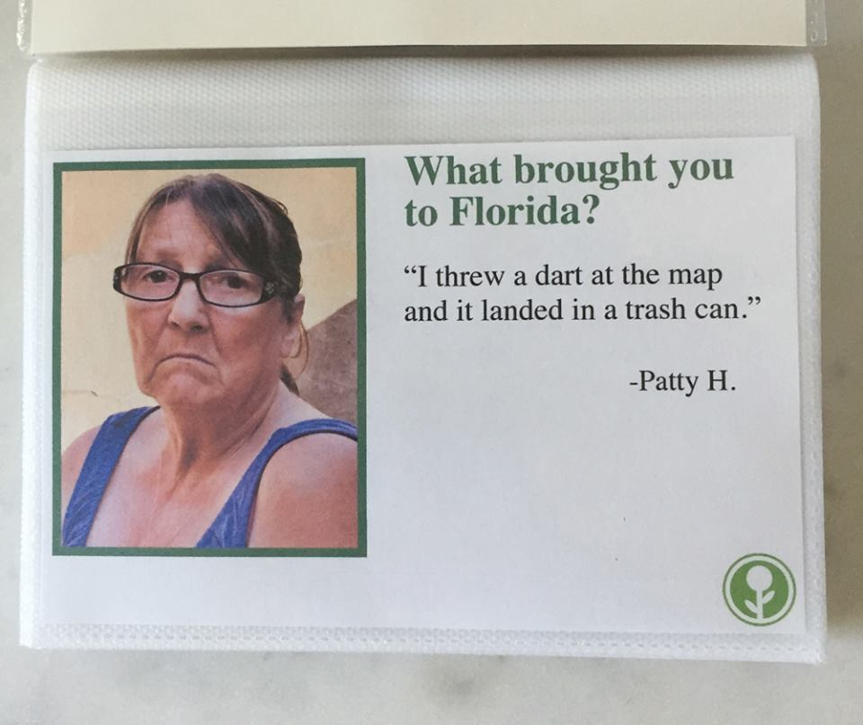 what brought you to florida guest book airbnb, obvious plant florida guest book, what brought you to florida dart trash