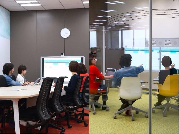 左の会議室では画面と向き合っている席がなく、リモートワーカーは議論に参加しにくい。右の会議室ではその場の全員が画面と向き合っているので、リモートワーカーも発言しやすいようだ。