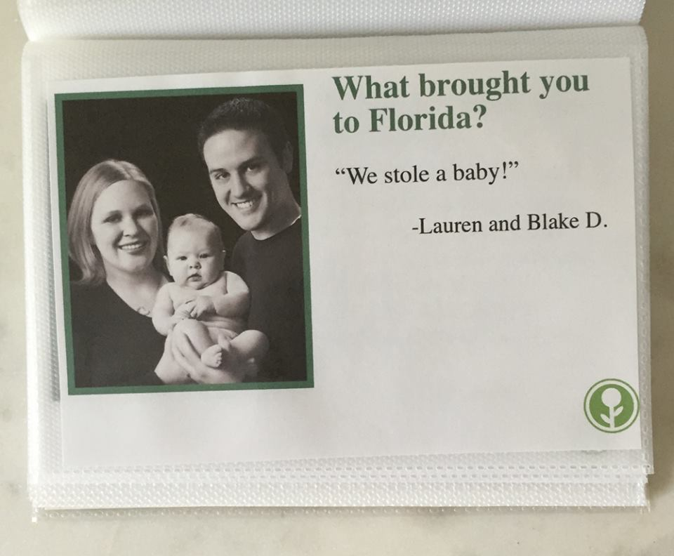 what brought you to florida guest book airbnb, obvious plant florida guest book, what brought you to florida stole a baby