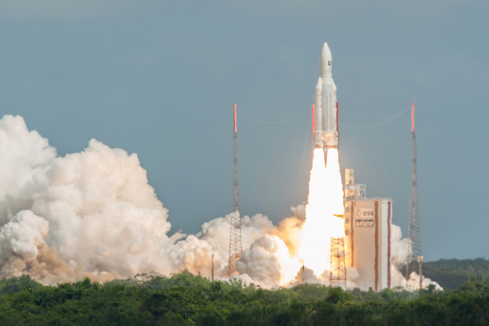 This photo taken and handout on November 17, 2016 by the European Space Agency (ESA), the Centre national d'etudes spatiale (CNES, the French government space agency) and the Arianespace  satellite launch company shows an Ariane 5 space rocket with a payload of four Galileo satellites lifting off from ESA's European Spaceport in Kourou, French Guiana, on November 17, 2016.  Ariane 5 successfully launched on November 17 four satellites which will be part of the Galileo global satellite navigation system. / AFP / ESA/CNES/ARIANESPACE / S. MARTIN        (Photo credit should read S. MARTIN/AFP/Getty Images)