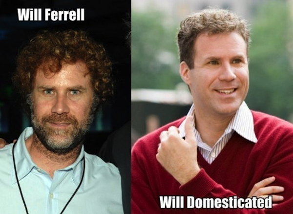 celebrity name puns, celebrity opposite names, will ferrell domesticated