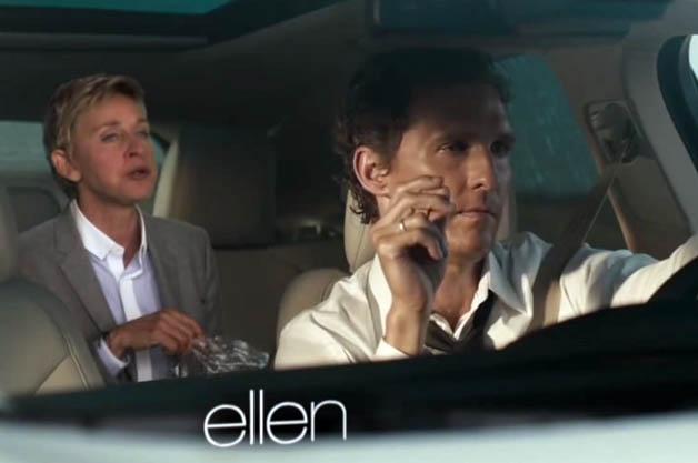 Ellen DeGeneres and Matthew McConaughey in the Lincoln MKC