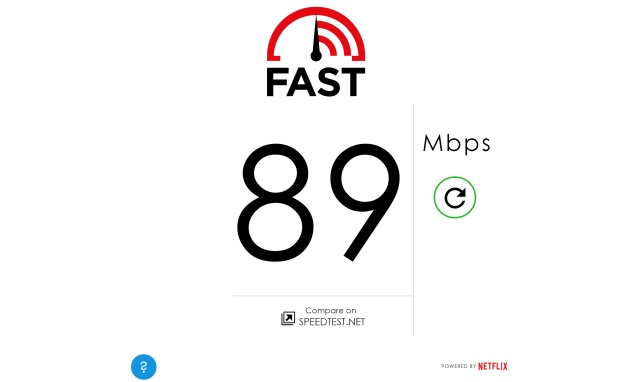 My Fast.com results on a Comcast cable connection: 89mbps down.