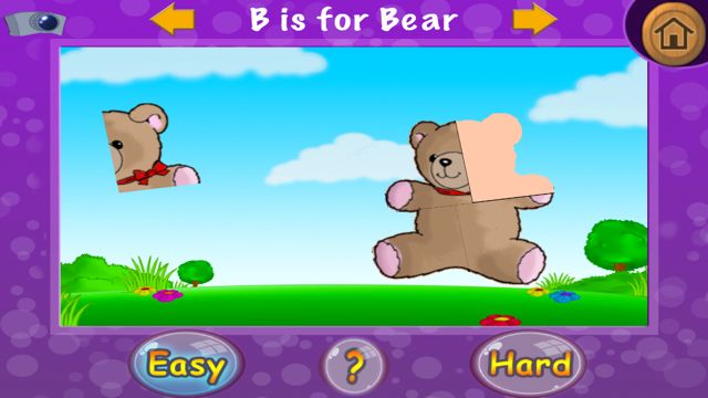 Puzzle fun mini game with bear puzzle missing one piece