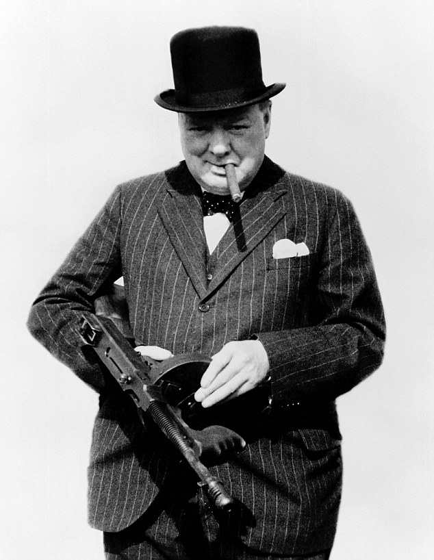 manliest photos on the internet, funny manly images, winston churchill submachine gun