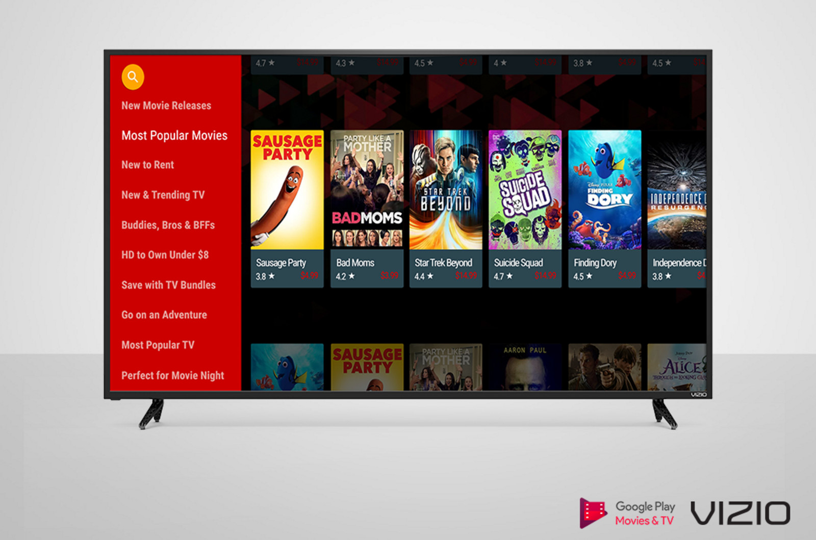 photo image Vizio TVs add the Google Play video app