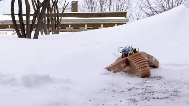 Soft robot trudges through snow