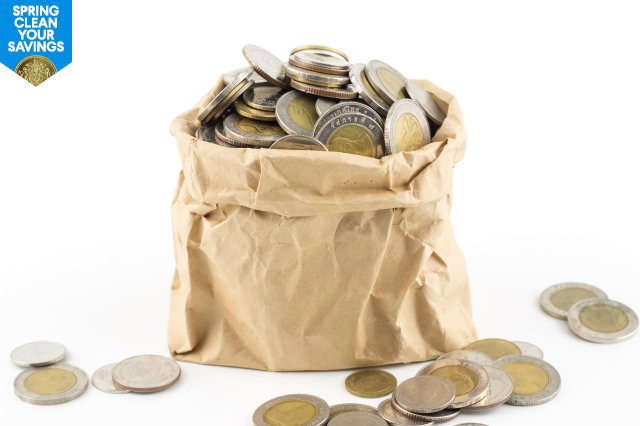 Paper bag with coins