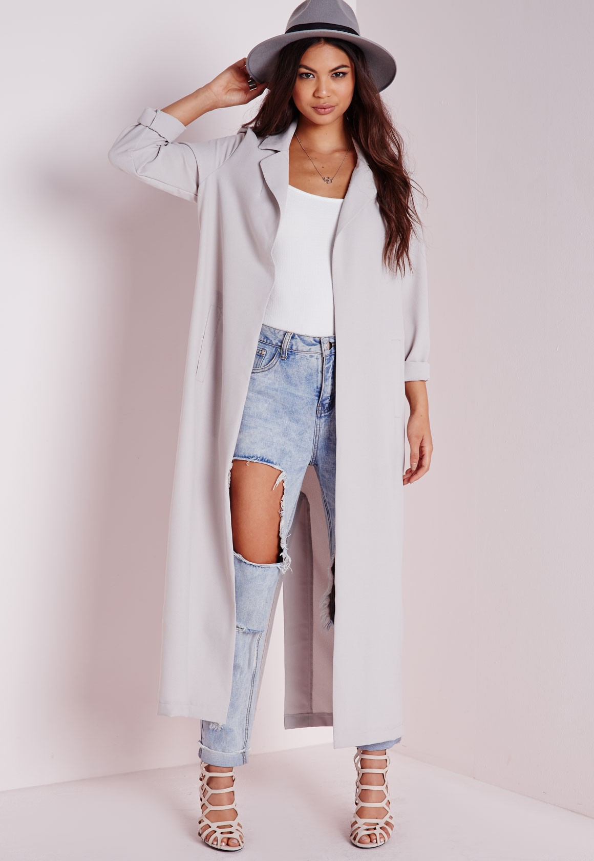 Long Sleeve Maxi Duster Coat Grey