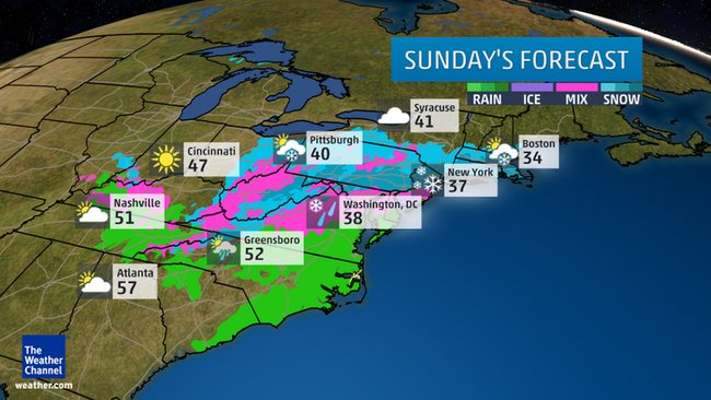 Sunday's outlook: Areas in pink denote either rain or snow may fall. Areas in blue denote where snow may fall.