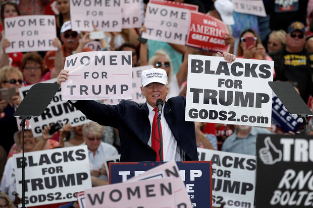 Republican U.S. presidential nominee Donald Trump holds up signs at the end of a campaign rally in Lakeland, Florida, U.S., October 12, 2016.   REUTERS/Mike Segar     TPX IMAGES OF THE DAY      - RTSRZSQ