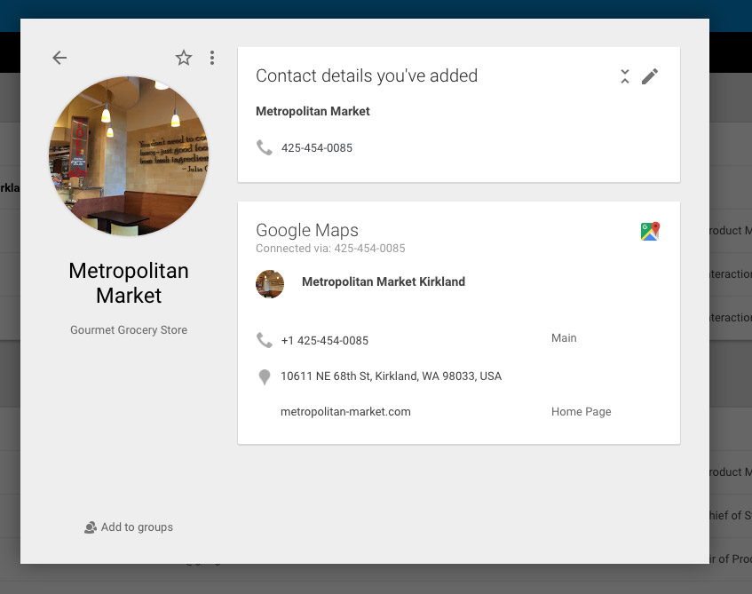 Google Contacts lists verified Maps info for businesses
