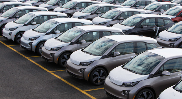 A sea of BMW i3 vehicles at Port Jersey