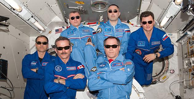 Astronauts wearing sunglasses
