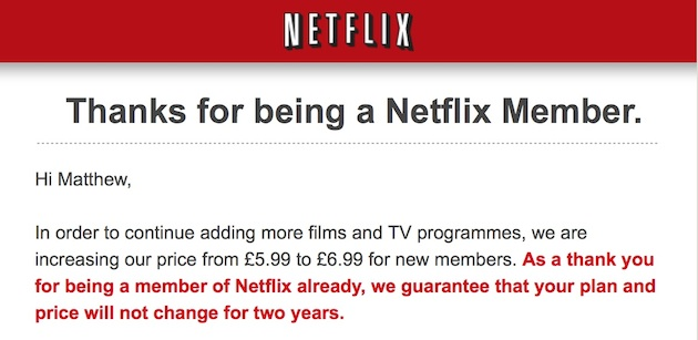 Netflix begins raising prices, but current users get a two-year freeze (update)