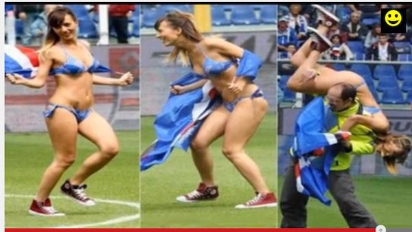 セクシーすぎるビキニ美女がセリエAの試合に珍入!「可愛すぎる」とネット上で話題に