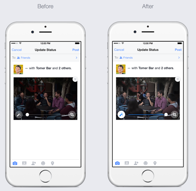 Facebook will auto-enhance your photos, if you use an iPhone