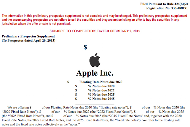 Apple planning a $5 billion bond offering