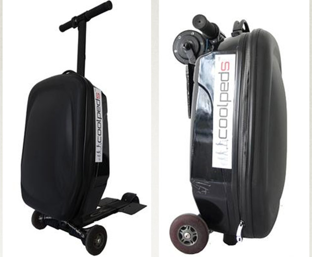 Suitcase with e-scooter can help you make it to your flight on time