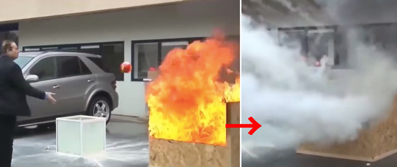 燃え上がる車を一瞬で消火! 画期的な消火器ボールが話題に【動画】
