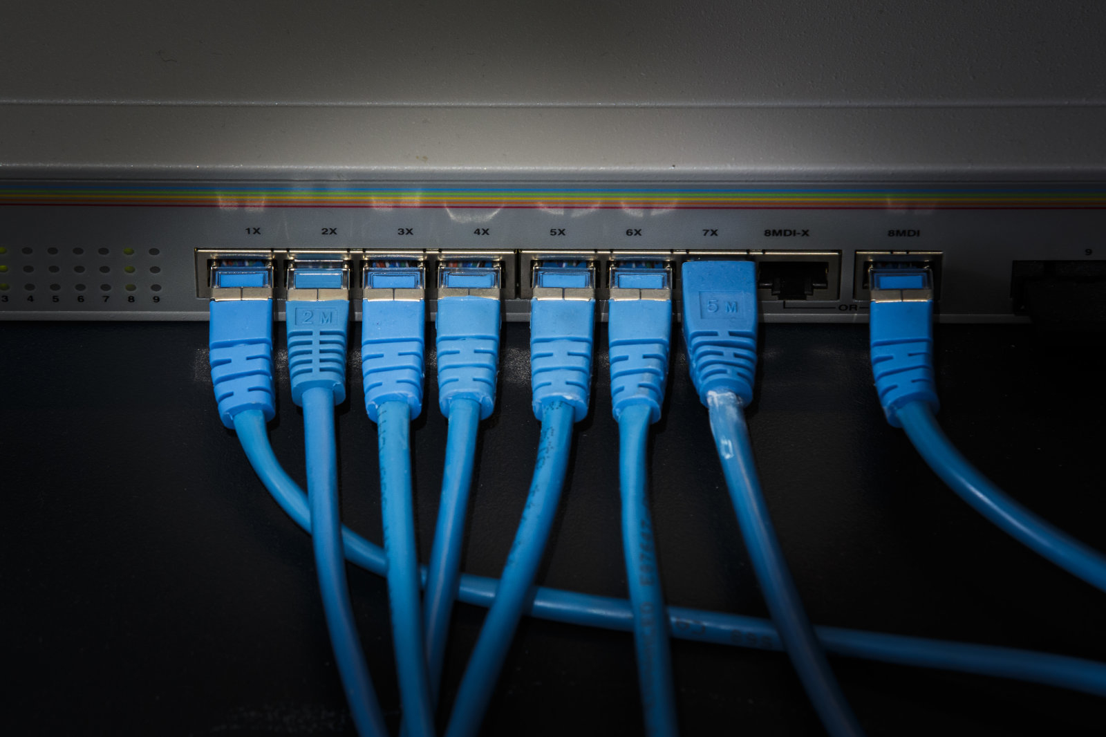 LUXEMBOURG, LUXEMBOURG - NOVEMBER 05: Network cables stuck in an Internet router on November 05, 2015 in Luxembourg, Luxembourg. (Photo by Thomas Trutschel/Photothek via Getty Images)