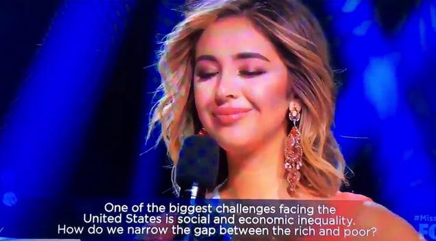 miss california answer inequality, miss california poor work hard, miss california fail