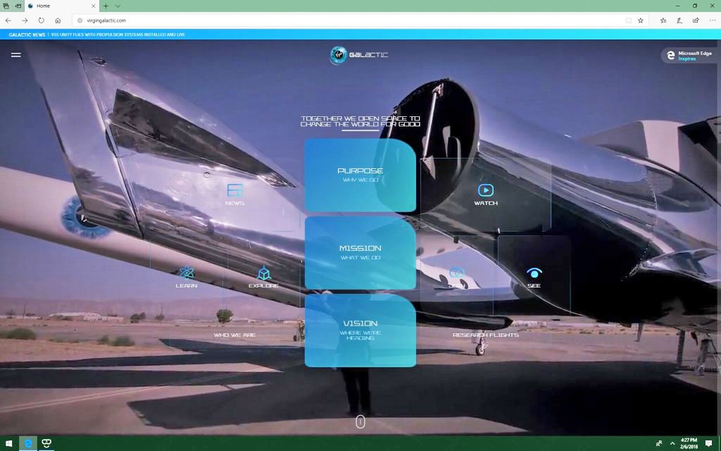 photo image Virgin Galactic's VR-powered website lets you tour its spaceships