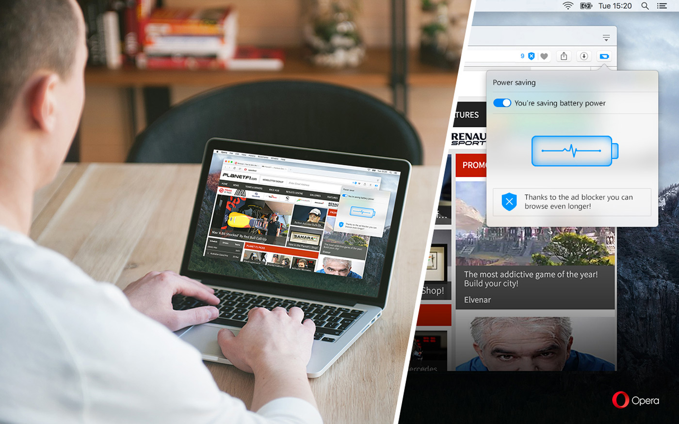 Opera's desktop web browser gets a low-power mode