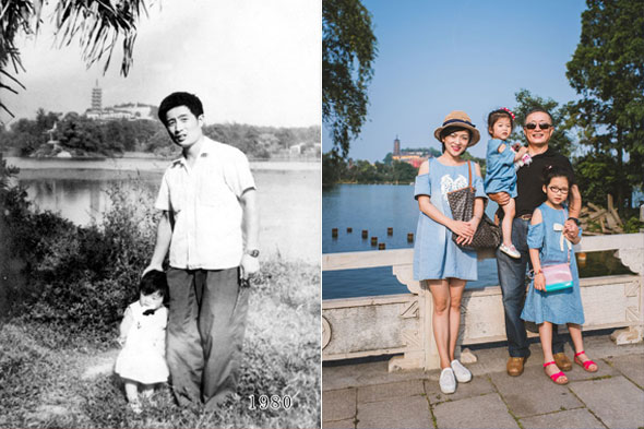 A life in pictures: Father and daughter pose for photo at the same spot for 35 years
