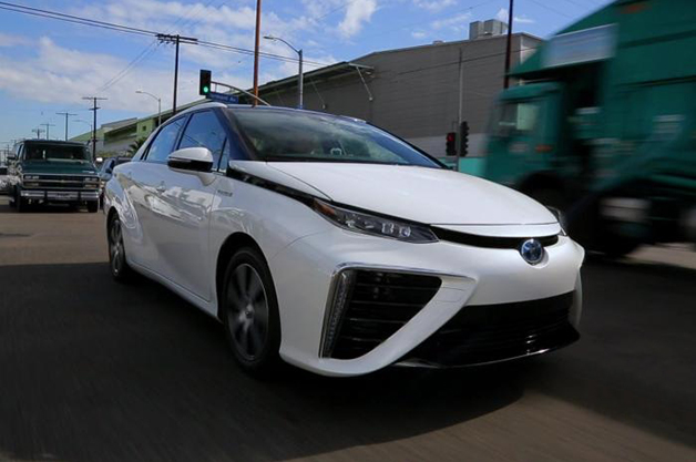 2016 Toyota Mirai hydrogen fuel-cell car in traffic