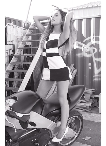Ariana Grande sexy lollipop motorcycle pic