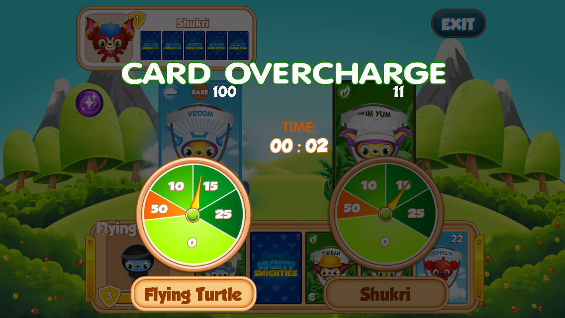 Players have to time when to press the button and stop the overcharge meter in Mighty Smighties