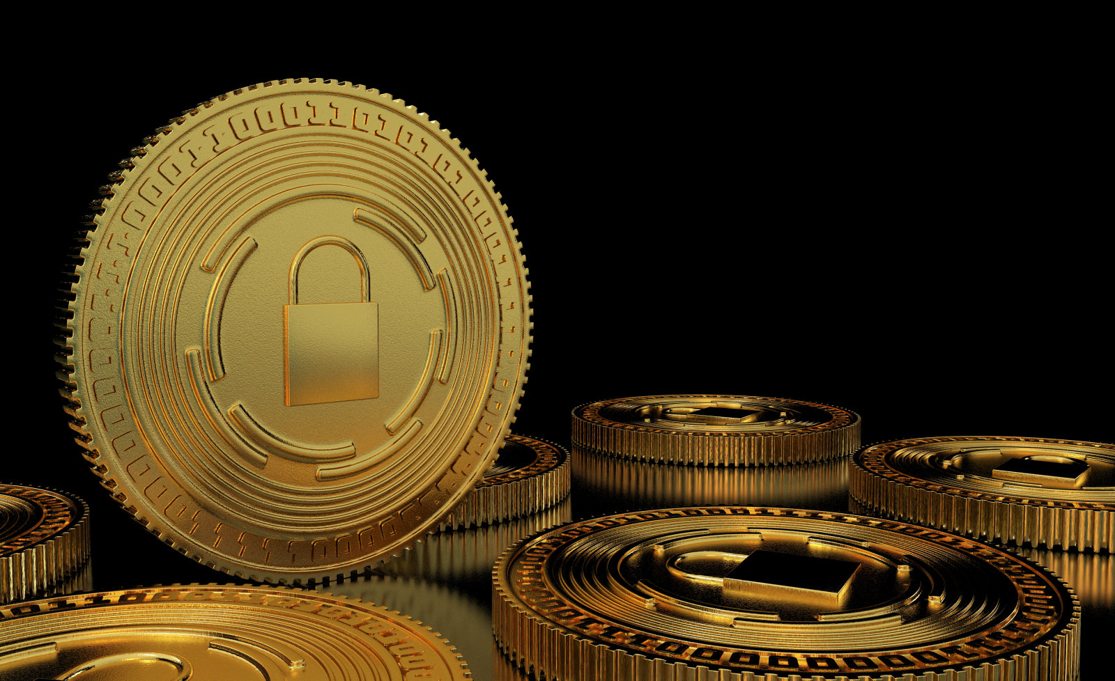 Cryptocurrency concept, gold coins.