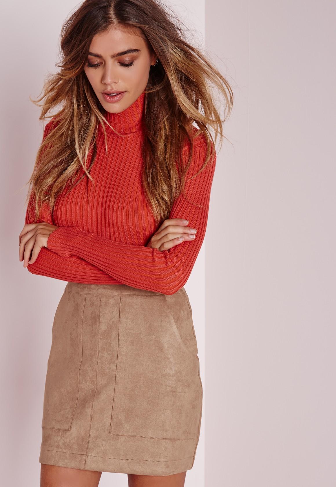 Bonded Suede A Line Skirt Camel