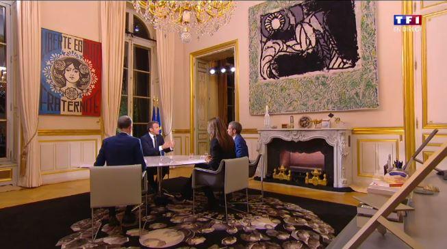 Emmanuel Macron sur TF1 mais quel est ce tableau de Marianne