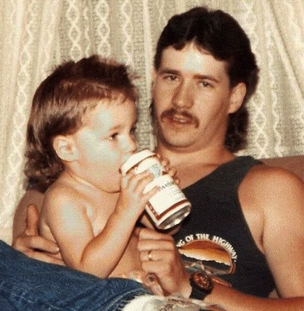 funny dads, best dads, father son mullets budweiser