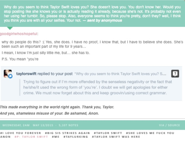 Taylor Swift's Tumblr response