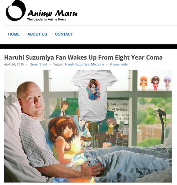 海外の「涼宮ハルヒ」ファンの男性が8年間の昏睡状態から目覚めたネタが話題にwww