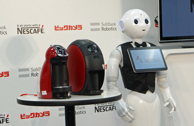 Pepper the humanoid robot wants to sell you a Nescafe coffee machine
