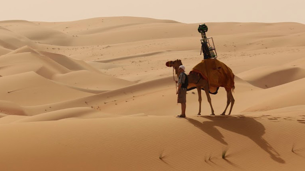 Google's Street View Trekker mounted on a camel