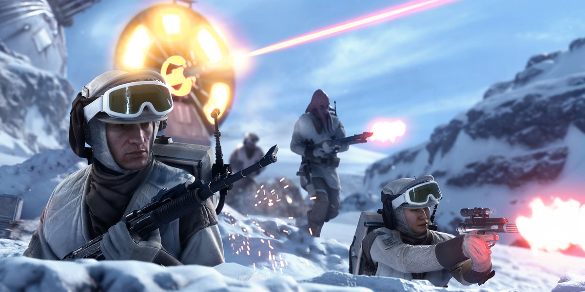 Rebels defending their Hoth base in 'Star Wars Battlefront'