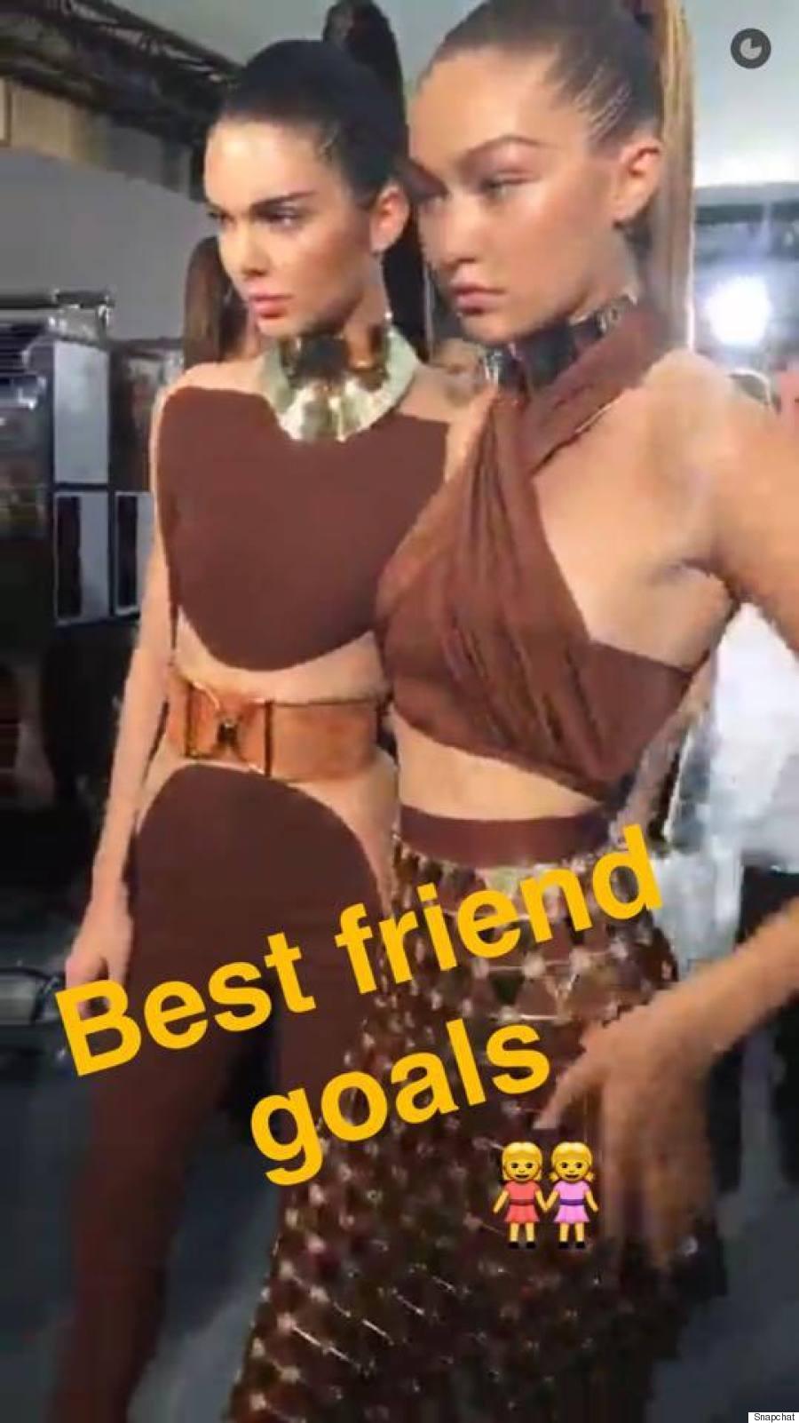 Kendall Jenner & Gigi Hadid backstage at Balmain.