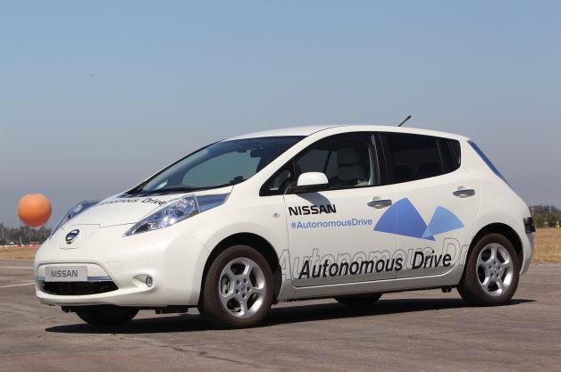 Autonomous Nissan Leaf, front three-quarter view.