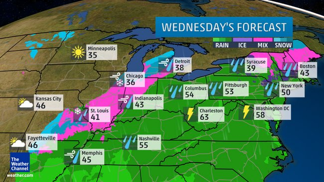 Wednesday's Forecast Rain/Snow/Ice  Credit: Weather Channel