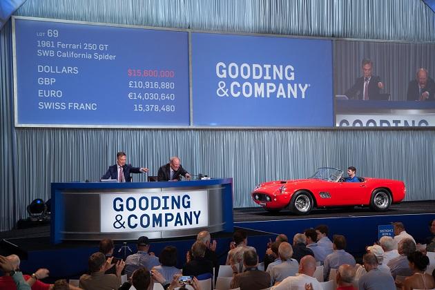 フェラーリ「250 GT SWB カリフォルニア・スパイダー」がアメリア島のオークションで約19.5億円で落札!