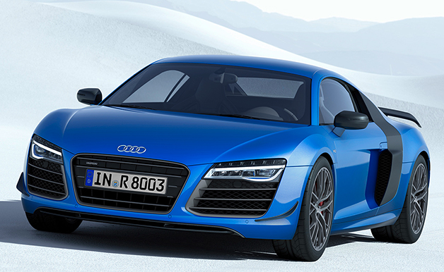 Rendering of the Audi R8 LMX, front three-quarter view.