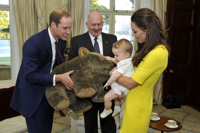Prince George given enormous cuddly wombat on Royal Tour