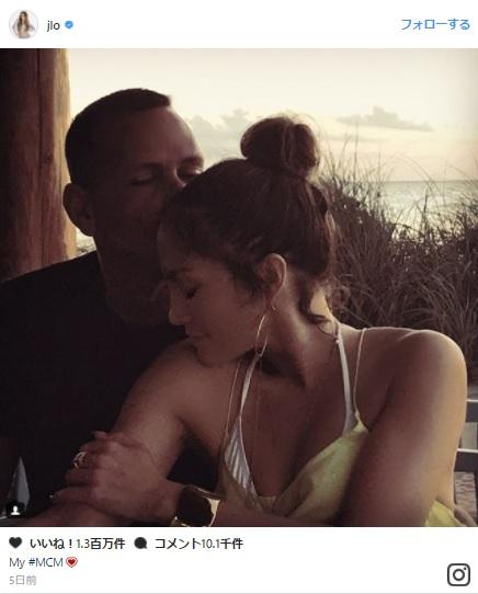 ジェニファー・ロペスがアレックス・ロドリゲスとのキス写真を投稿し話題に